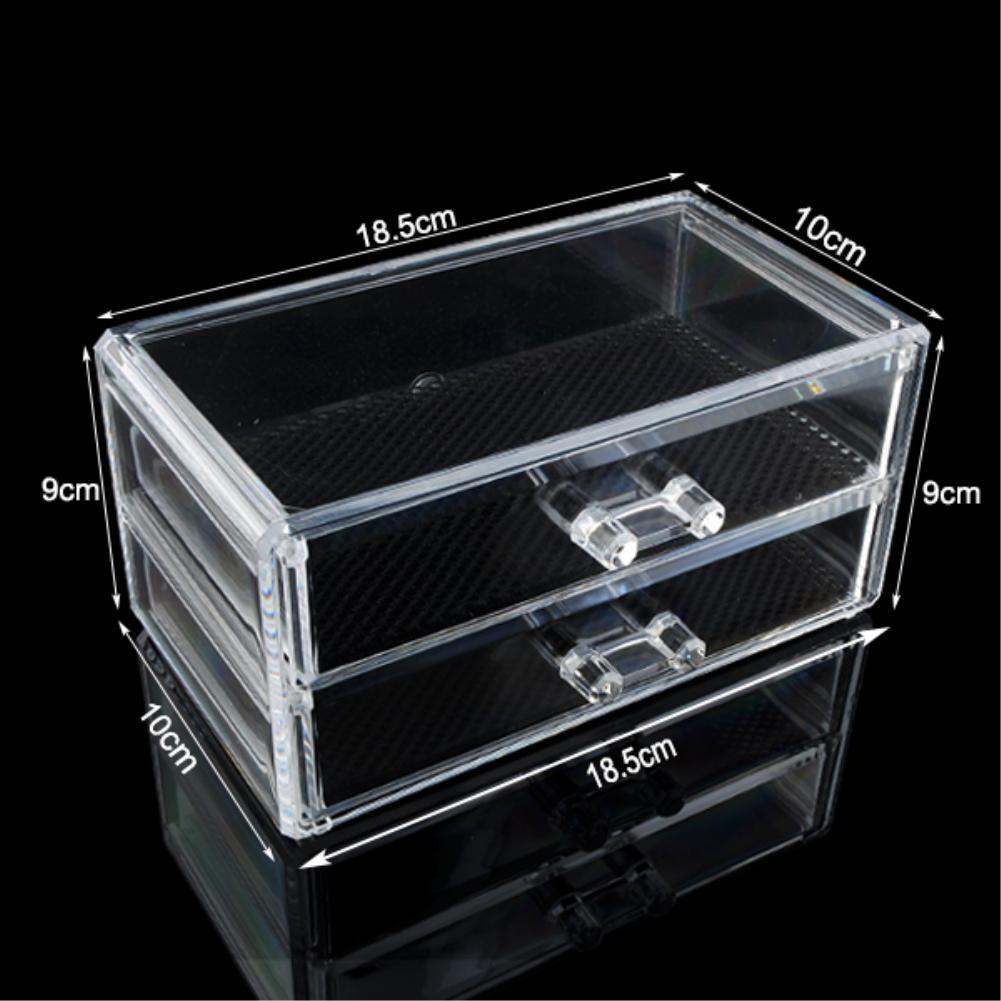 10 Grid 3 Layer Drawer jewelry Box Make up Organizer Storage Holder Skin Care Cabinet Clear Acrylic Large Display Box EQC368 POK