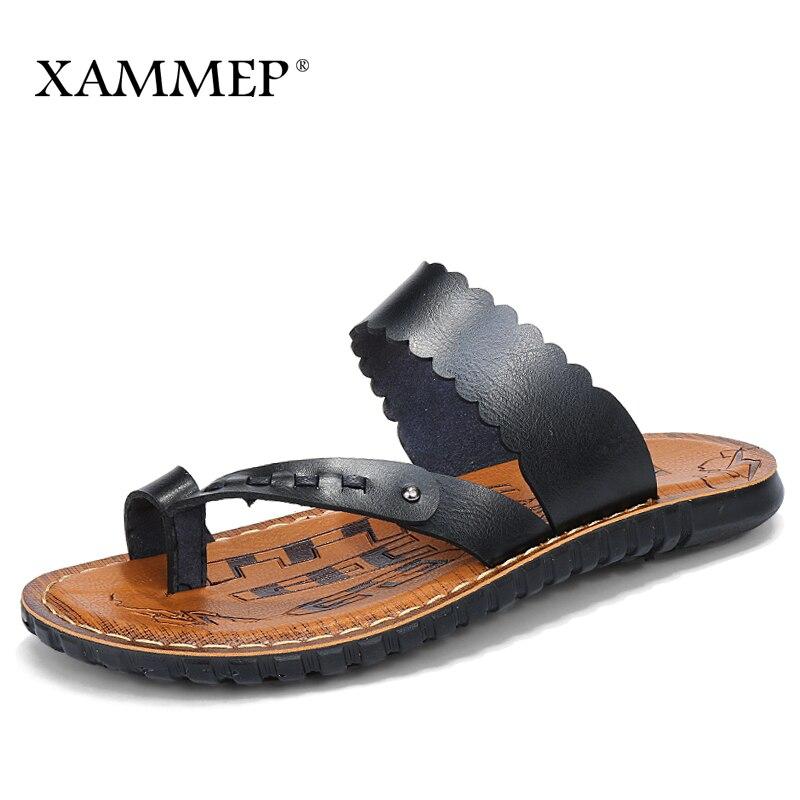 Xammep Men Sandals Summer Shoes Men Beach Sandals Brand Men Casual Shoes Flip Flops Genuine Split Leather Sneakers Men Slippers