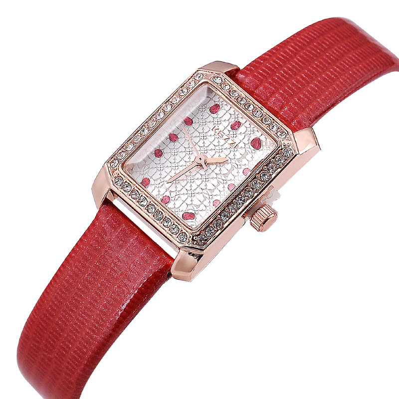 JW713 Brand Women Rectangle Case Leather Quartz Watch Gleaming Crystal Water Resistant Wrist Watch For Dress Ladies