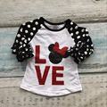 baby girls cotton raglans girls LOVE minnie raglans children white polka dot sleeve raglans kids casual raglans