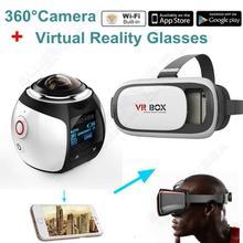 อัลตร้าHD 4พัน360องศาHDMIเอาท์พุทWifi H.264 8MP Panoramicกล้องกีฬาการกระทำVRกล้องDVRสีขาวw/3D VRแว่นตา