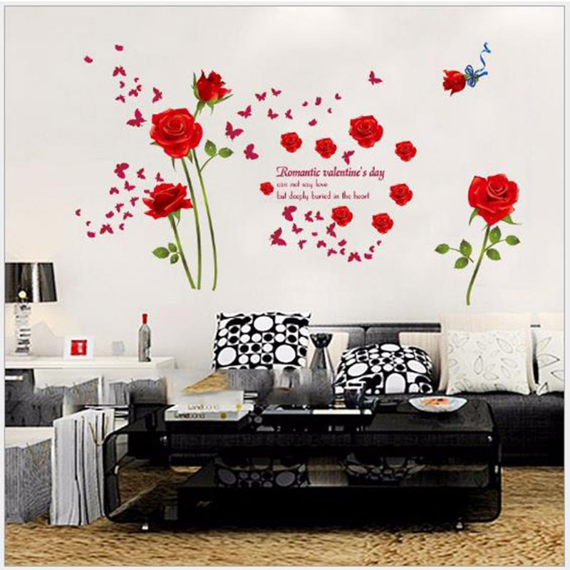 DIY Romantic Red Roses Wall Stickers Bedroom Entrance Hall Living Room Bathroom TV Background Home Decoration In From