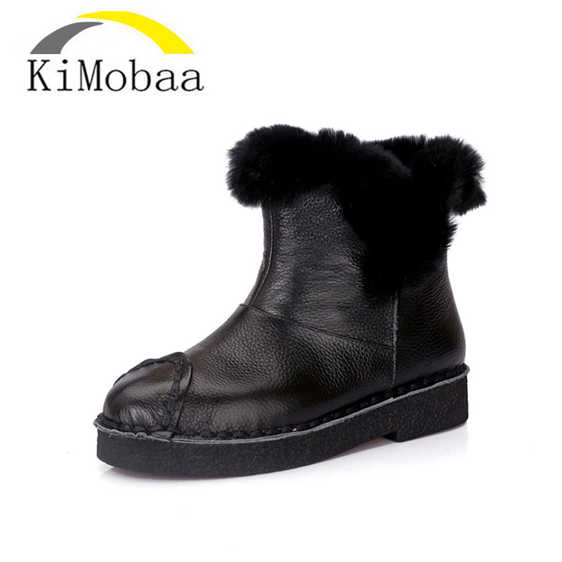 Kimobaa 2017 Handmade Women's Winter Boots Women Real Fur Winter Shoes Woman Genuine Leather Warm Ankle Snow Boots Mujer TX111