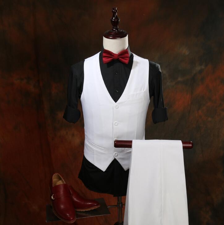 Automne De Bal 3 Ensembles Pantalon Hôte Bar Blanc Marié Chanteur Vêtements Mariage Mâle Pièce Hommes veste Gilet Costume Hiver Bvxqwv0I
