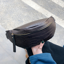 Crocodile pattern PU Leather Waist Bags For Women 2019 Solid Color Funny Packs Ladies Belt Bags