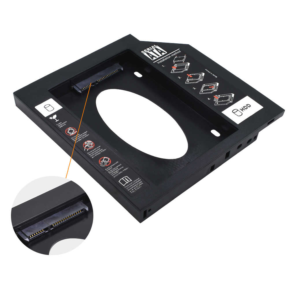 TISHRIC Kunststoff HDD Caddy 9,5 Oder 12,7mm SATA 3,0 Optibay 2.5 ''SSD DVD Festplatte Fahrer CD-ROM Adapter fall Gehäuse