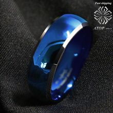 8mm anel de tungstênio masculino azul abobadada com chanfrado bordas de prata anéis de casamento frete grátis