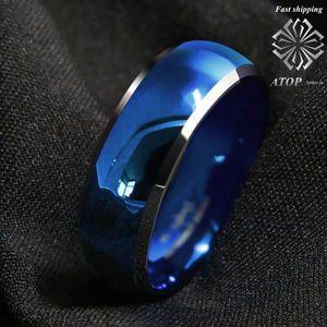 Image 1 - 8mm męski pierścień wolframu niebieski kopułą ze ściętymi srebrnymi krawędziami obrączki darmowa wysyłka