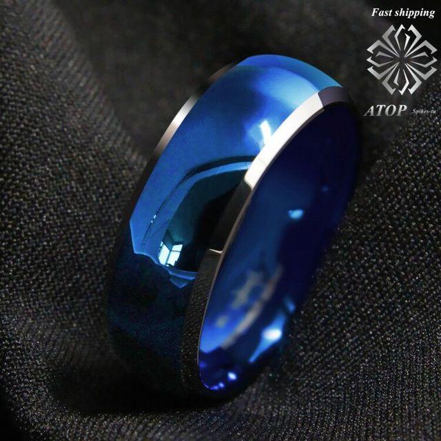 8mm męski pierścień wolframu niebieski kopułą ze ściętymi srebrnymi krawędziami obrączki darmowa wysyłka