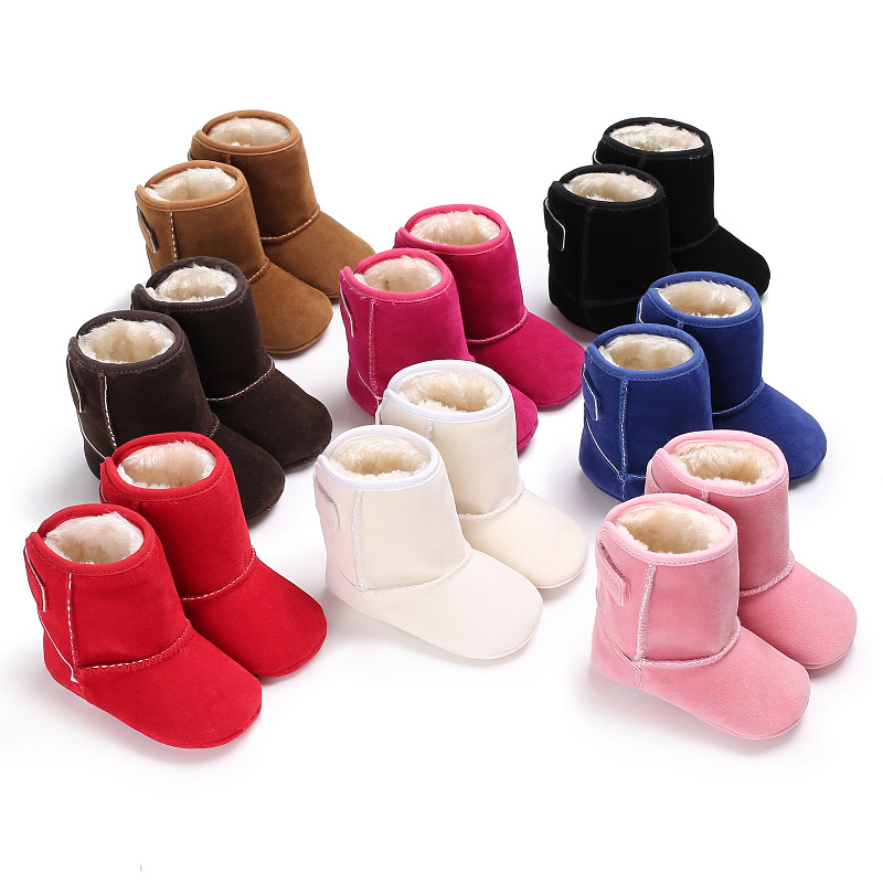 2018 new solid suede pu leather baby winter boots baby moccasins warm baby boys girls shoes soft rubber sole baby boots