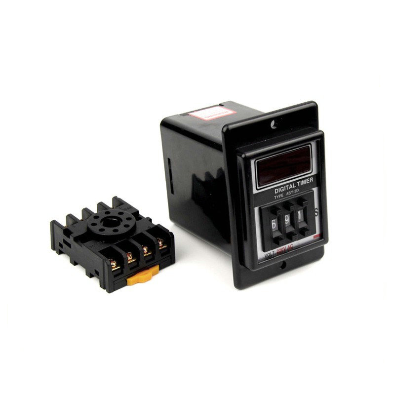 ASY-3D 0.1S-99.9S Digital Timer Time Delay Relay AC220V/380V/110V DC12V/24V with Base zys48 s dh48s s ac 220v repeat cycle dpdt time delay relay timer counter with socket base 220vac