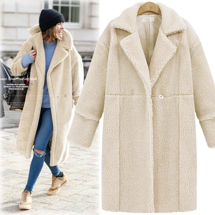 Women's new fashion winter casual cashmere thicken coats and   trenches   with long sleeves and pockets