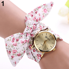 New! Ladies's Woman's Pastoral Floral Model Allover Fabric Scarf Band Quartz Analog Geneva Wrist Watch 5L6V