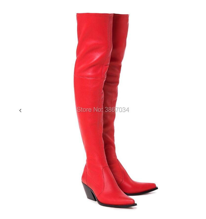SHOOEGLE Fashion Women Footwear Cowboy Thigh High Boots Block Cuban Heel  Pointed Toe Leather Sock Over the Knee Motor Booties -in Over-the-Knee  Boots from ... 1c07d7dcd0a0