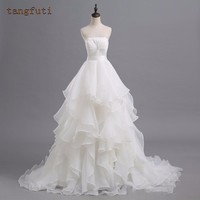 Ball Gown Wedding Dresses Strapless Pleat Backless White Ivory Organza Cheap Bride Bridal Gowns Sexy Vestido De Novia