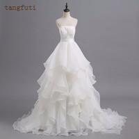 White Ivory Organza Wedding Dresses Strapless Layers Backless Ball Gown Bridal Dress Sexy Vestido De Novia