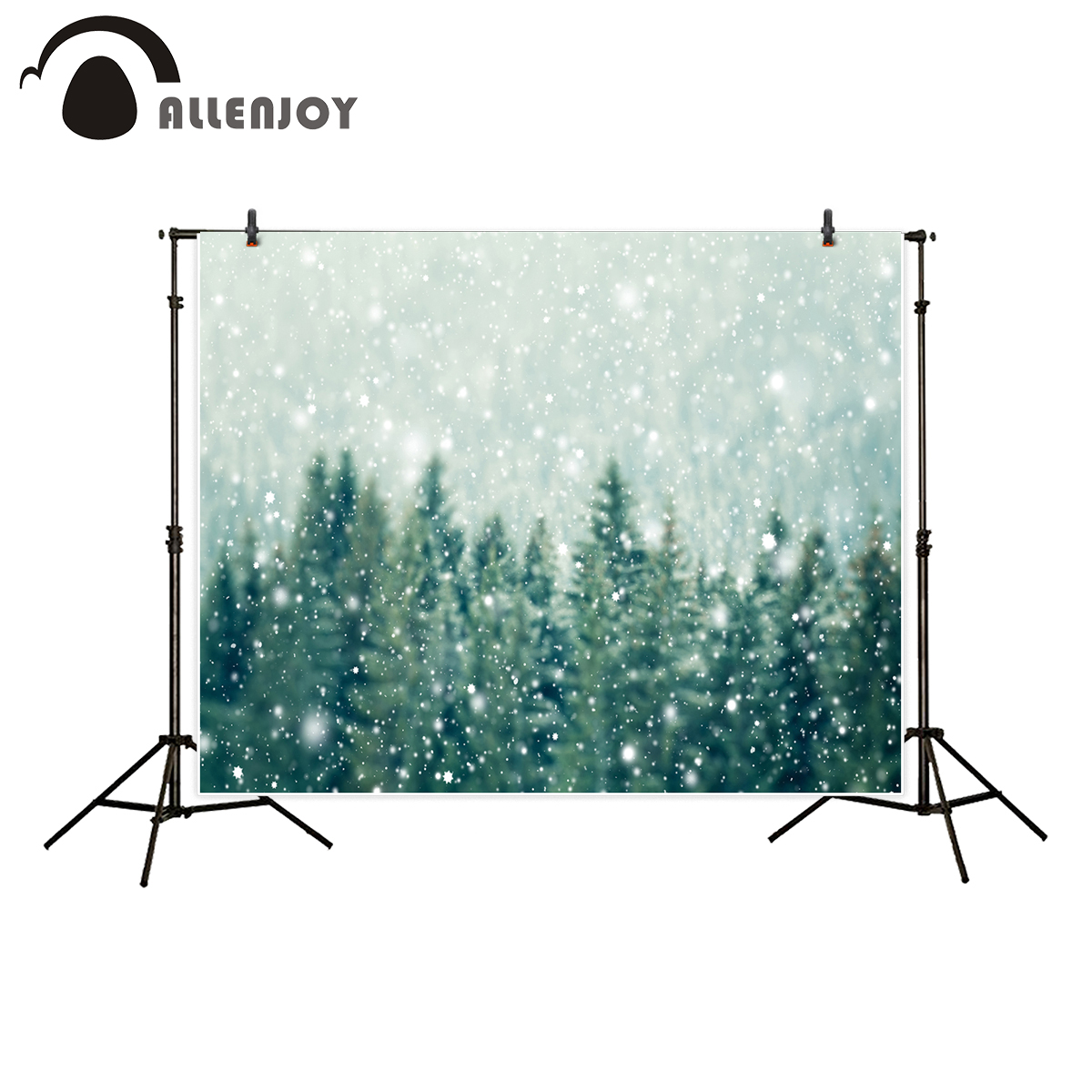 Allenjoy photography background Winter snowy pine forest Christmas backdrop for Photo studio new arrival camera fotografica цена 2017