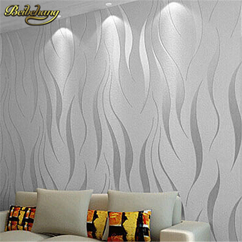 beibehang papel de parede. High quality modern simple non woven wallpaper 3D three-dimensional Flocking embossed wall paper beibehang europen classic papel de parede 3d flooring damask wallpaper embossed flocking non woven modern home decor wall paper