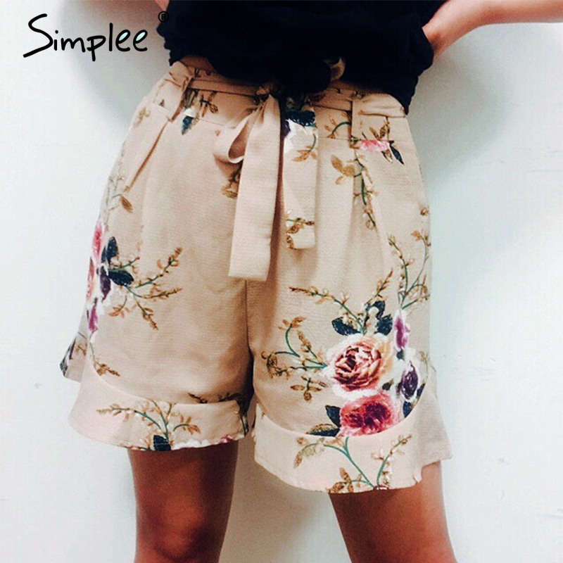 Simplee Casual floral print ruffle   shorts   Women summer beach drawstring bow belt   shorts   Pocket zipper streetwear   shorts   2018