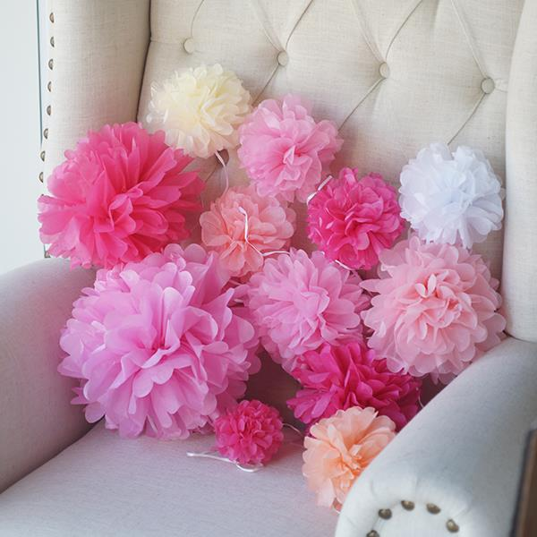 12pcslot 10 Inch Tissue Paper Pom Poms 24 Colors Handmade Paper