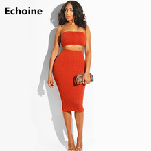 цены на Women knit 2 pieces set Knit Crop Top and Midi Skirt Bodycon KnitSkirt Sexy Strapless Top Female Clubwear Outfit Elegant Skirt в интернет-магазинах