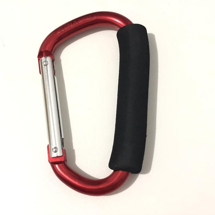 """Крючки для прогулочных колясок держатель для продуктовой сумки ручка карабины 6,"""" 5,1"""" Удобный очень большой d-образный инструмент для переноски крючков с мягкой пеной - Цвет: 14x8cm Red"""