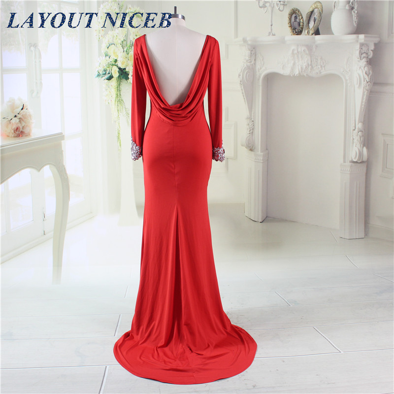 Red Spandex Backless Mermaid   Evening     Dress   2017 New Elegant Long Sleeve with Rhinestone Beads Formal Prom Party Gowns