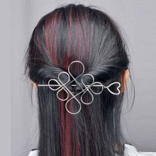 Chinese Knot Hairgrips Gold Silver Color Heart Hollow Hair Wear Women Fashion Elegant Vintage Hairclips Hair Pins Accessories(China)