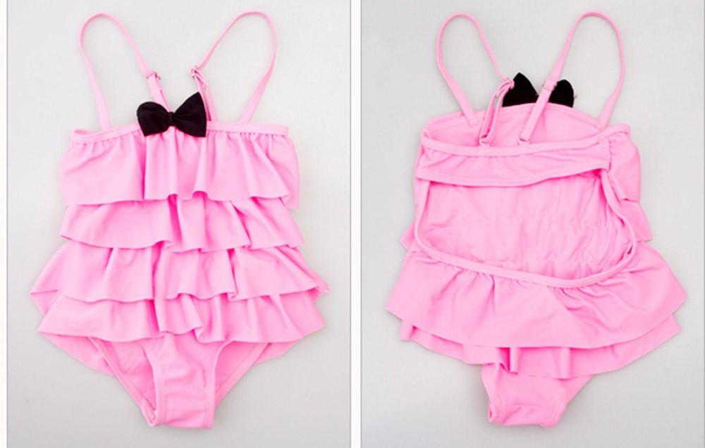 Cute Lovely Ruffles Kids One-piece Dress Girl Children Swimwear Baby Bathing Suit For 2-9 years old