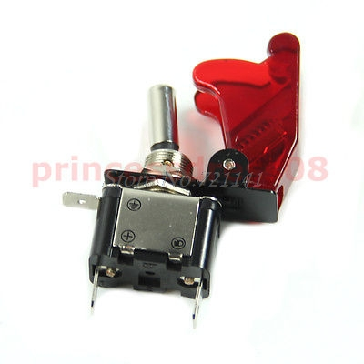 Car Racing On Off Aircraft Type 12V Red LED Toggle Switch Control Red Flip Cover