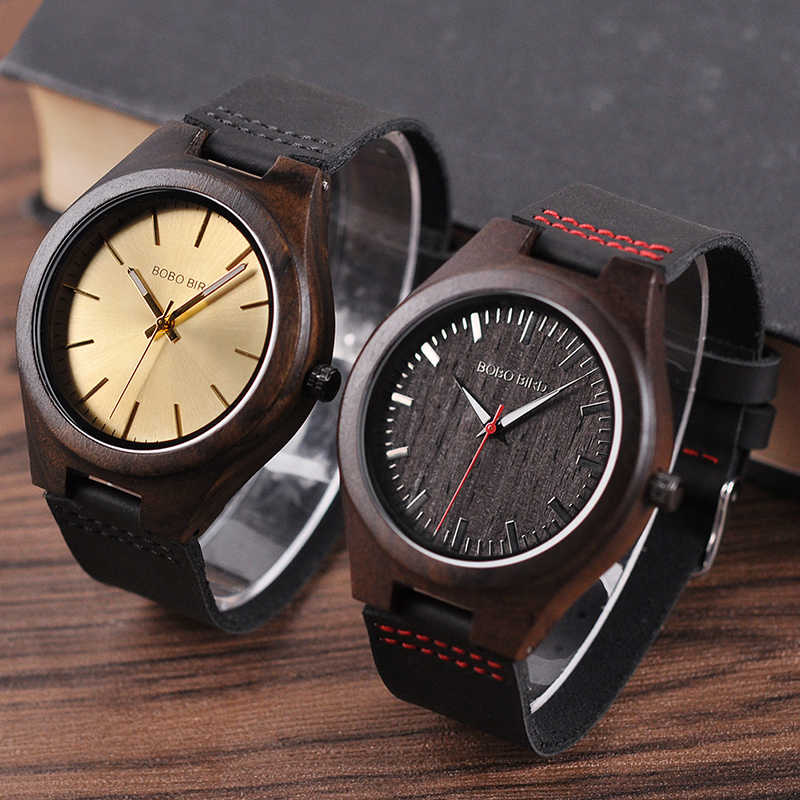 Bobo Bird Classic Round Black Ebony Wood Watches for Men Leather Quartz Watch in Sales Deal
