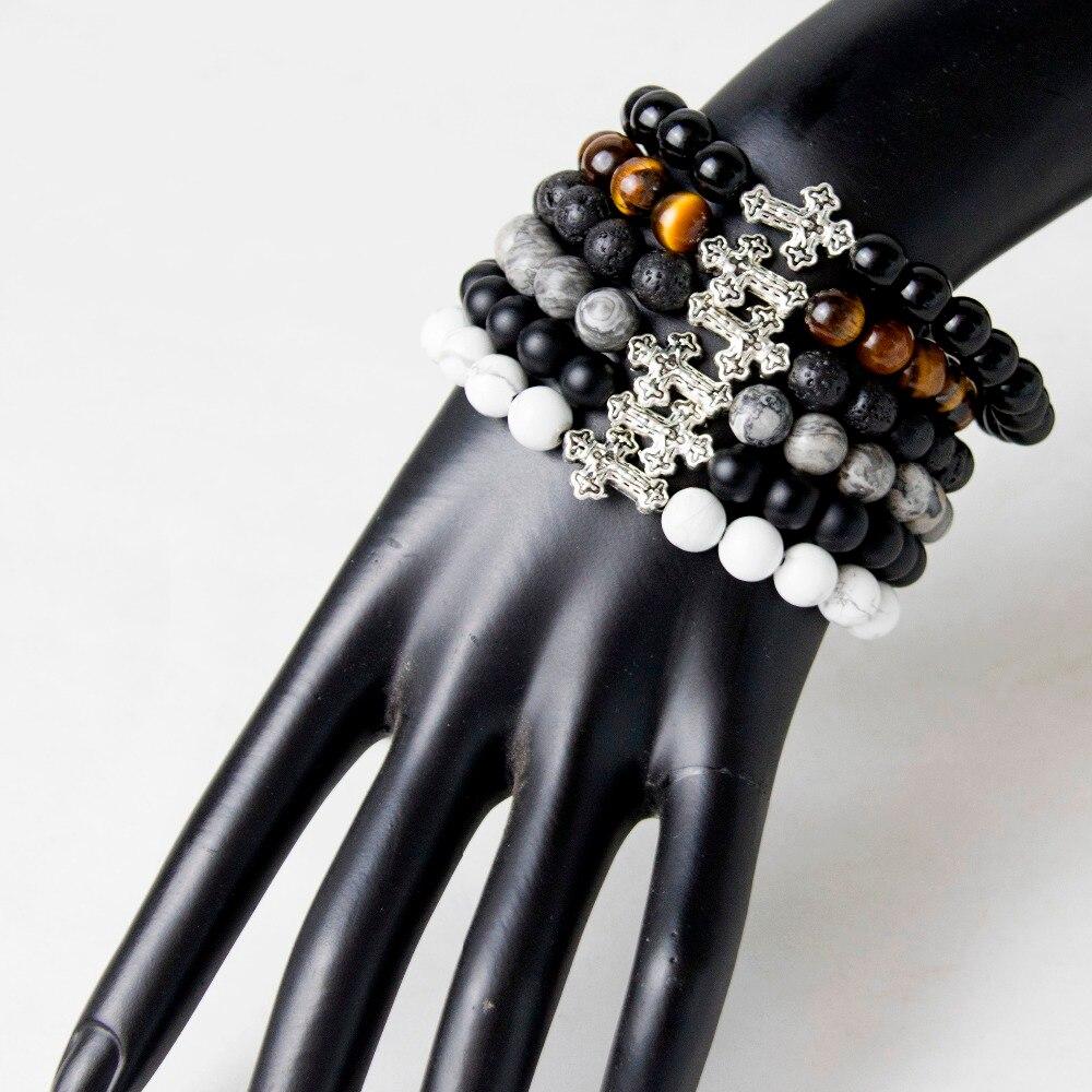 Natural Tiger Eye, White Howlite, Lava stone, Black Onyx, Matte Onyx,Gray Map Stone Cross Bracelet For Men,Strand Bracelets