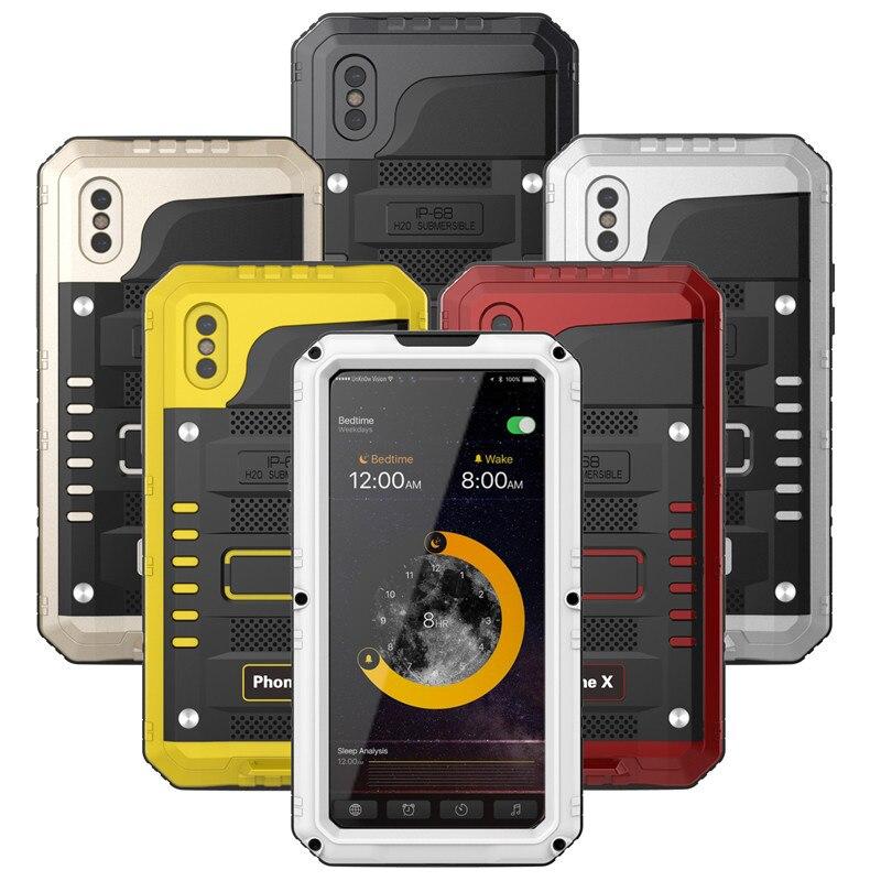 Luxus Doom rüstung Metall Aluminium Heavy Duty telefon Fall für iPhone 6 6 s 7 8 Plus X 5 5 s SE Stoßfest Staubdicht Wasserdichte Abdeckung