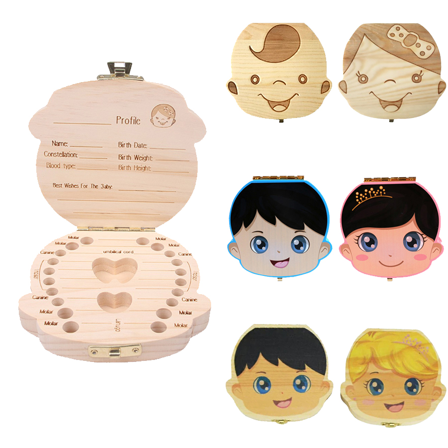 Wooden Baby Tooth Box English Spanish Russian French Portuguese Milk Teeth Storage Box Organizer Baby Souvenirs Kids Tooth Box