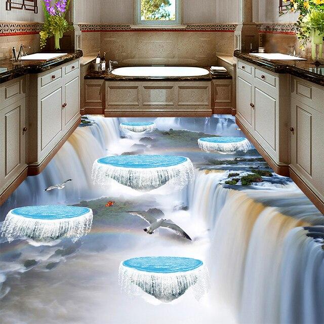 Custom Photo Floor Wallpaper 3D Stereo Waterfall Suspended Island Birds  Bathroom Kitchen Living Room Waterproof 3D