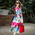 Summer Fashion Women's Runway Ball Gown Dress Designer Stunning Handing Cartoon Graffiti Printing Sweet Long Vestidos