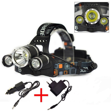 5000 lúmenes 3 * CREE T6 LED del faro Frontal llevó el faro LanternsTorch linterna Use18650 + Car Charger AC /