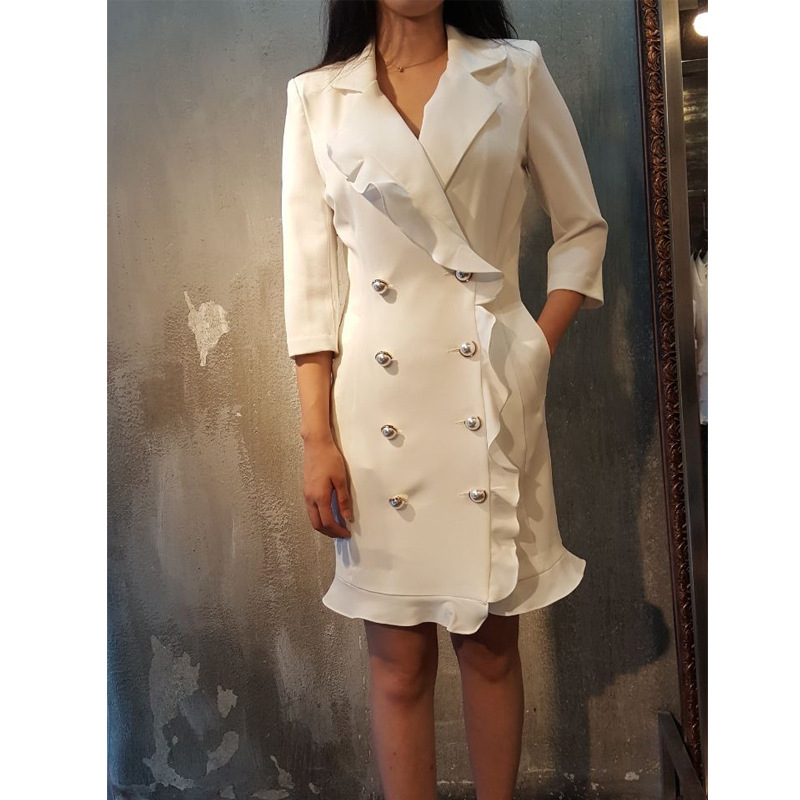 The New Korean Version Spring Dress 2019 Skinny Double-Breasted Casual Suit Jacket With Lotus Leaf Edge Women Jackets And Coats