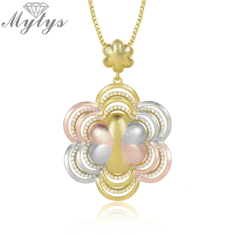 Mytys Three Color Gold Necklace Polished TRI-COLOR GOLD AAA Level Zircon Setting Flower Pendant Necklace Female Jewel CN397