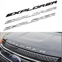 3D EXPLORER Letters Hood Emblem Silver Chrome Black Logo Sticker For 2011 2012 2013 2014 2015