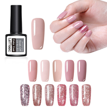 LEMOOC 8ml Rose Gold Gel Nail Polish  Color Coat Shinny Glitter Gel Varnish Soak Off Long Lasting Nail Gel UV Led Polish