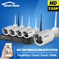 4CH WIFI CCTV Security Camera System Wireless Video Surveillance NVR Kit Outdoor HDMI P2P Night Vision Home Onvif IP Camera Set