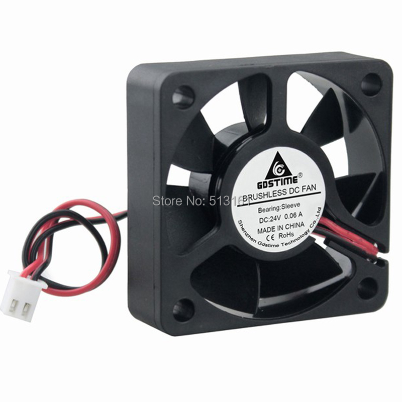 Купить с кэшбэком 5Pcs Gdstime 2Pin 24V 5015 50x50x15mm 50MM DC Mini Radiator Cooling Fan Cooler