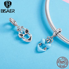 BISAER Hot 925 Sterling Silver Mint Blue Color Sexy Bikini Pendants Charms Fashion DIY Jewelry Fit Bracelets Necklaces GXC1157(China)