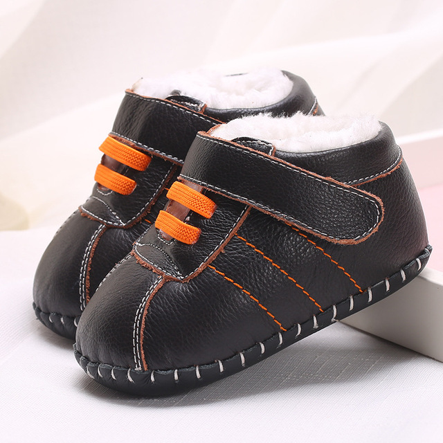 Newborn Baby Shoes Winter Leather Soft Bottom Warm Leather Tendon At The End Toddler Shoes Children 0-2 Years Old  WMC2109