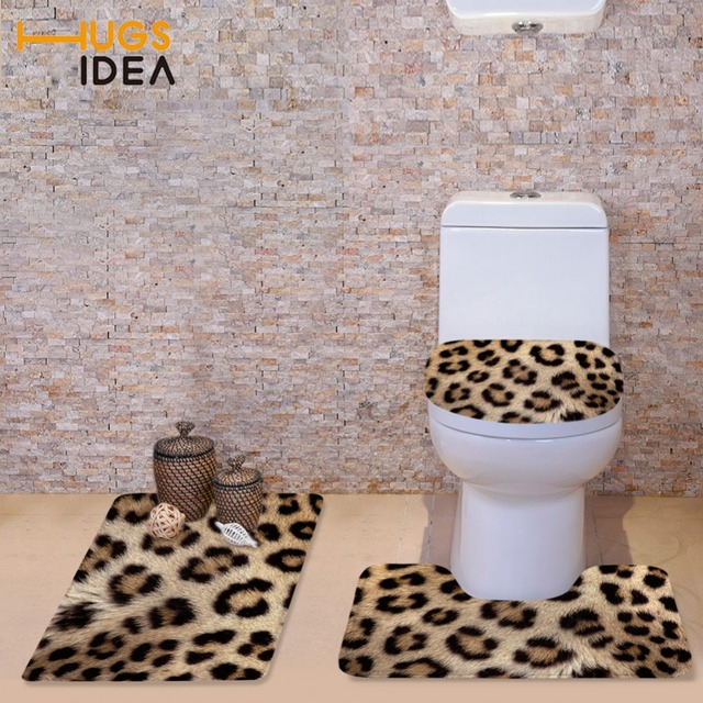 HUGSIDEA Modern Leopard Toilet Seat Cover Home Bathroom Decorator 3D WC Warm Lid Soft