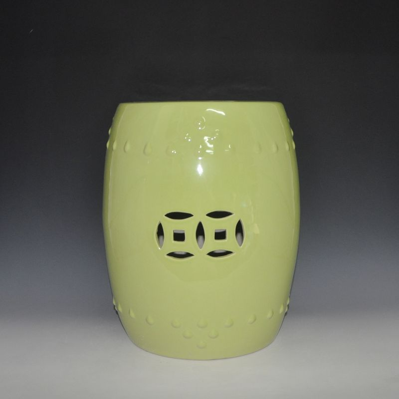 HEAVYWEIGHT Pale yellow glazed ceramic porcelain stool for indoor decor jingdezhen golden glazed ceramic porcelain garden face stool