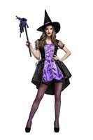 Fantasia Women`s Purple Witch Sets Cosplay Halloween Costume Female Sexy Front Short Back Long Witch Dress Party Fancy Dress
