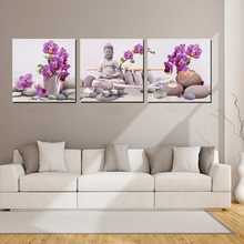 3 Piece Canvas Painting Wall Art Picture Modern Buddha Print Painting on Canvas Living Room Home Wall Decor Flower No Frame