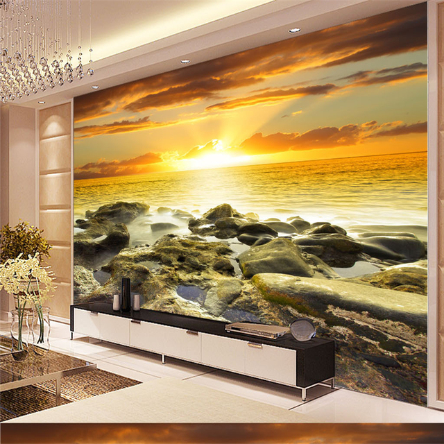 Beibehang Large Custom Wallpapers Hd Aesthetic Dreamy Coastal Stone